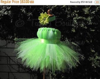 SUMMER SALE 20% OFF Girls Tutu Dress - Birthday Tutu - Green Fairy Tutu - Halloween Costume - Tinkerbell - Sewn Pixie Dress - sizes 18-24 mo