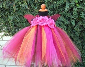 "SUMMER SALE 20% OFF Custom Sewn Tutu Dress - Autumn Pixie - Baby Pixie Tutu Dress - up to 20"" long - sizes Nb to 24 months"