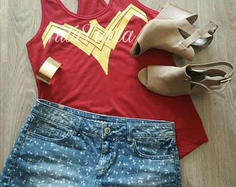 2017 Wonder Woman Shirt, Justice League Wonder Woman Breastplate Emblem in Gold on Maroon Red Shirt, Woman's Racerback Tank Top, Size S-2XL