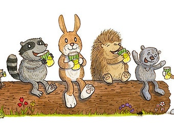 Drinking Buddies Woodland Animals Art Print