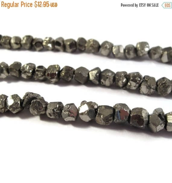Summer SALEabration - Pyrite Nugget Beads, 4 Inch Strand, 7mm-9mm Natural Gemstones for Making Jewelry, About 12 Rough Natural Pyrite Beads