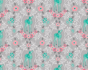 Flora and Fawn by Amanda Herring for Riley Blake, Flora Deer on Gray, 1 yard