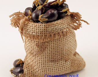 12th Scale handmade dollhouse miniature Sack Of Aubergines