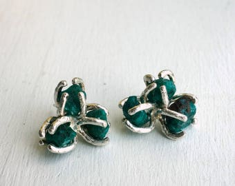Rough Green Dioptase Crystal Cluster Studs in Shiny Sterling Silver