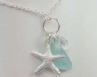 Sea Glass Necklace Sea Glass Jewelry Aqua Sea Glass Pendant Beach Girl Necklace Sea Glass Jewelry N-541