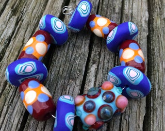 Mixed Set of Handmade Lampwork Glass Beads With Handmade Polymer Clay Beads