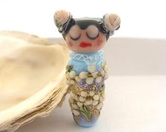 Floral Light Blue Geisha Bead Handmade Lampwork