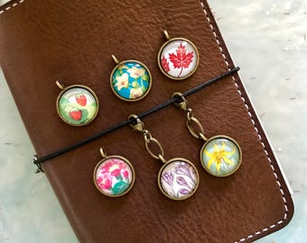 Planner Charm - Journal Charm - Cell Phone Charm - Flowers - Midori Charm, Travelers Notebook Charm - Postage Stamps - Flower Stamps