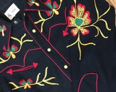 Black Vintage Western Shirt 1940s by Frontier brand with very unique chainstitch embroidery Nudie Cohen seen wearing one like it