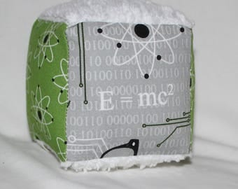 Small Mod Geek and Atoms Chenille Fabric Block Rattle