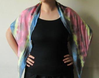 Shibori, Viscose Rayon, Pink,  Blue and Yellow Scarf