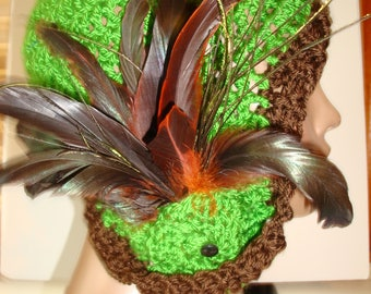 Cloche - Flapper Style - Green Hat with Brown trim  - Sorority Colors Available