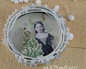 CHRISTMAS REINDEER GIRL - altered canning jar lid - ornament - NO078