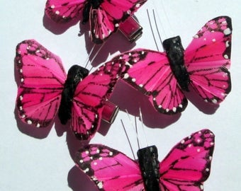 Butterfly Hair Clips small pink and black Monarch feather butterfly hand made hair clip