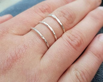 SALE - Sterling silver triple ring, three band ring, hammered silver ring, silver cage ring