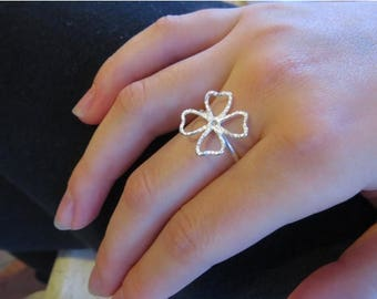 SALE - Four leaf clover ring sterling silver, Shamrock ring, Irish lucky ring