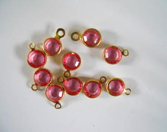 10 Vintage 6 MM Pink Crystal Channel Set 1 Ring Drop