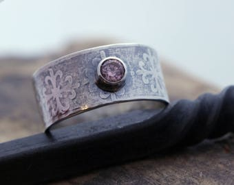 Sterling Silver Gemstone Wide Band Patterned Ring