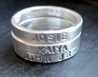 Set of Three (3) Sterling Silver Stackable Rings - Plain or Hand Stamped - Size 7 - Engraved ring - custom rings - stackable rings