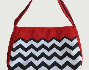 Twin Peaks Inspired chevrons and red handbag, shoulder bag