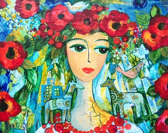Original Painting, Refugee from Donbas (Eastern Ukraine, War Zone), Mixed Media on Canvas, Acrylics