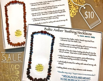 SALE Genuine Baltic Amber Teething Raw and Unpolished chip beaded necklace. Cognac and Black Cherry Chip Beads. 12.5 inch. Gift Boxed