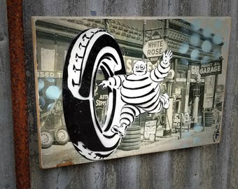 Michelin Man Vintage Car Parts Graffiti Art Painting on Photo Transfer Original Art on Handmade Canvas Home Decor Pop Art Gallery