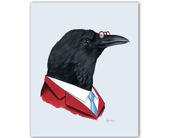 Crow Gentleman art print 5x7