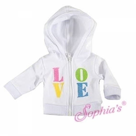 Love Front Zip Hoodie - 18 Inch Doll Clothes