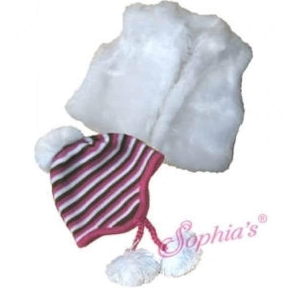 White Fur Vest & Knit Cap - 18 Inch Doll Clothes
