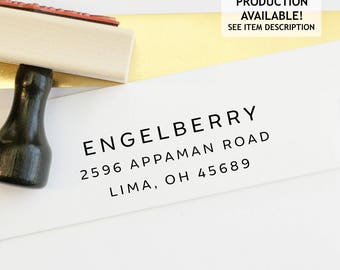 Address Stamp - Self Inking Return Address Stamp - rubber stamp - Custom and Personalized Stamp, Housewarming gift - engelberry style