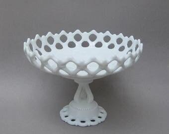 Vintage Milk Glass Pedestal Bowl Doric Lace Compote Westmoreland Glass Company Open Lace Pedestal Dish Milkglass Centerpiece