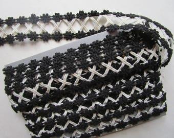 4 yards Vintage Black White Insert X Lace