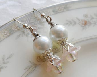 75% Off Clearance Sale, Lily Blossom Earrings, Silver Tone, Vintage Beads, Pearl and Pink