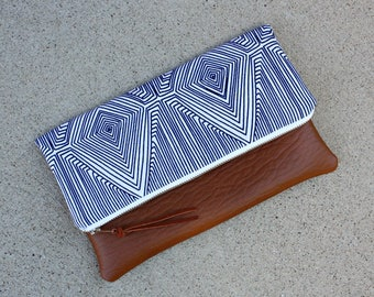 Blue Linea Nate Berkus fabric Foldover Clutch / Kindle Case