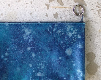 sea blue clutch soft leather purse