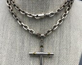 Vtg Sterling Silver Cross Pendant on Chunky Sterling Chain Mexico