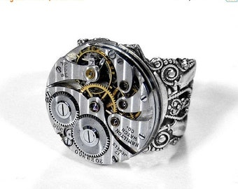Steampunk Jewelry Mens Ring Vintage HAMILTON Watch PINSTRIPE Silver Filigree Band, Husband Ring Holiday Mens Gift - Jewelry by edmdesigns