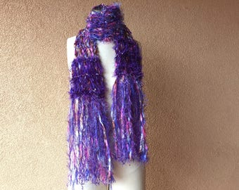 Purple Accessories Purple Scarf Women Gift Hand Knit Ribbon Scarf with Pink, Brown, Violet, Silver, Fucshia Bright Bold Colorful Scarf