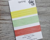 Irish Waxed Linen Thread, Bookbinding Thread, 4 ply, Spring colors, Yellow, Mint Green, Salmon, 5 yards each color