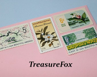 Botanical Beauties .. Unused Vintage Postage Stamps .. Enough to mail 10 letters .. Stamps for your special mailings and Wedding Invitations