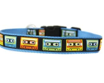 1 Inch Wide Dog Collar with Adjustable Buckle or Martingale in Vintage Cassette