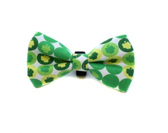 Bow Tie for Dog Collar attaches with hook-and-loop fastener Lucky Shamrock