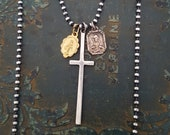 RESERVED - Sterling Silver Big Cross Necklace, Long Silver Cross, Cross Vintage Charms Necklace, French Antique, Rocker, Oxidized Bead Chain