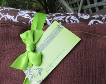 2 Swaddler Baby Blankets LARGE duo 1 Flannel, 1  Gauze - Brown Scroll and Chocolate Brown Cotton Gauze - newborn, toddler, baby shower gift