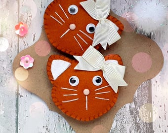 Ginger Pussy Cat hair clip or hair ties,Handmade Padded ginger cat barrette, Cat Hair Bobble, Cat Hair elastic, ponytail holders,pigtails