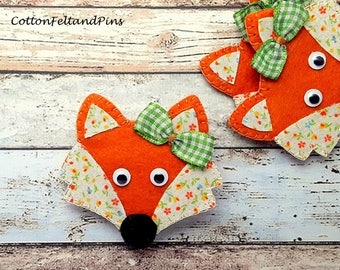 Hair clips felt and fabric padded Fox hair clip, Fox barrette, Fox hair bobble, Fox hair tie, fox pig tails,Fox brooch pin,singles/pairs