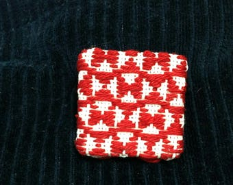 Embroidery brooch , Square Japanese Kogin embroidered brooch , hand stitched accessory