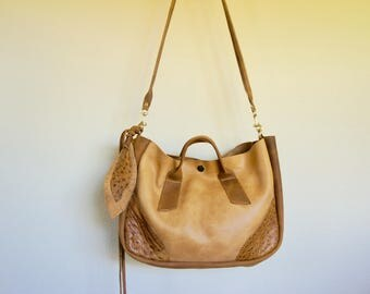 NEW///Muriel with Handles in Thick Honey Brown Horween Leather with Ostrich Accents and Clip On Messenger Strap