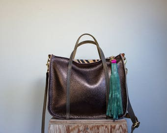 SAMPLE///Metallic Bronze and Mixed Leather Tote with Handles and Clip On Adjustable Messenger Strap